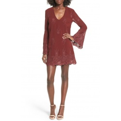 Embroidered Bell Sleeve Shift Dress